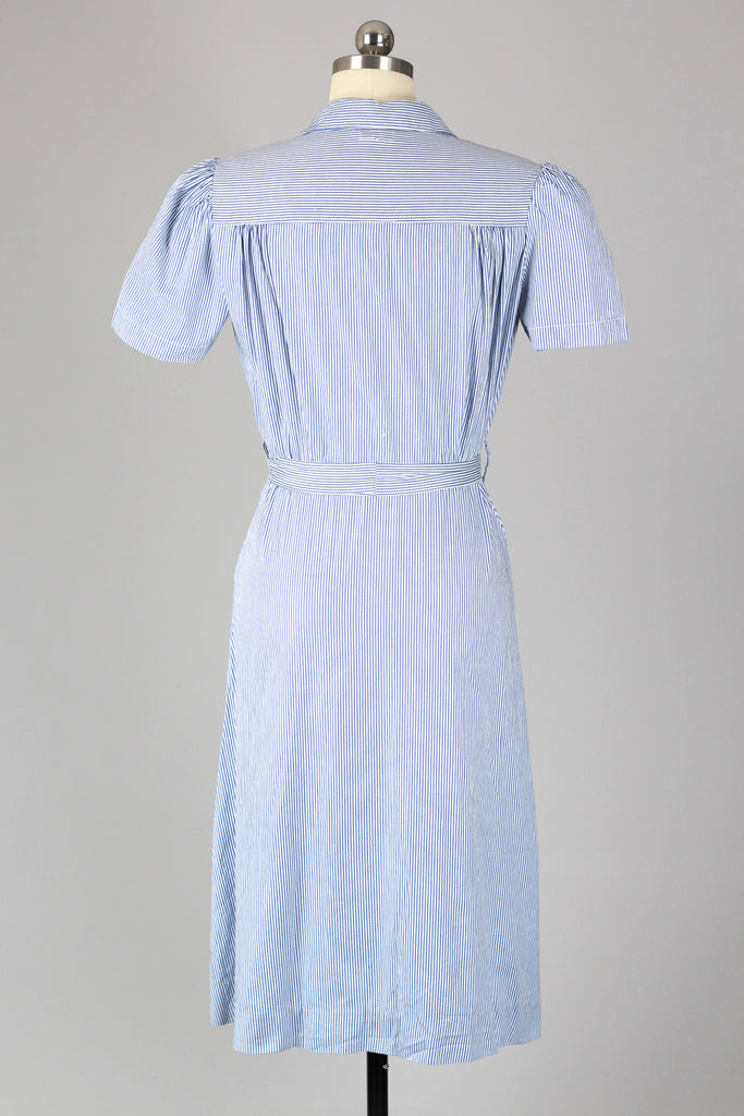 1940s Classic Cotton Pin Stripe Day Dress