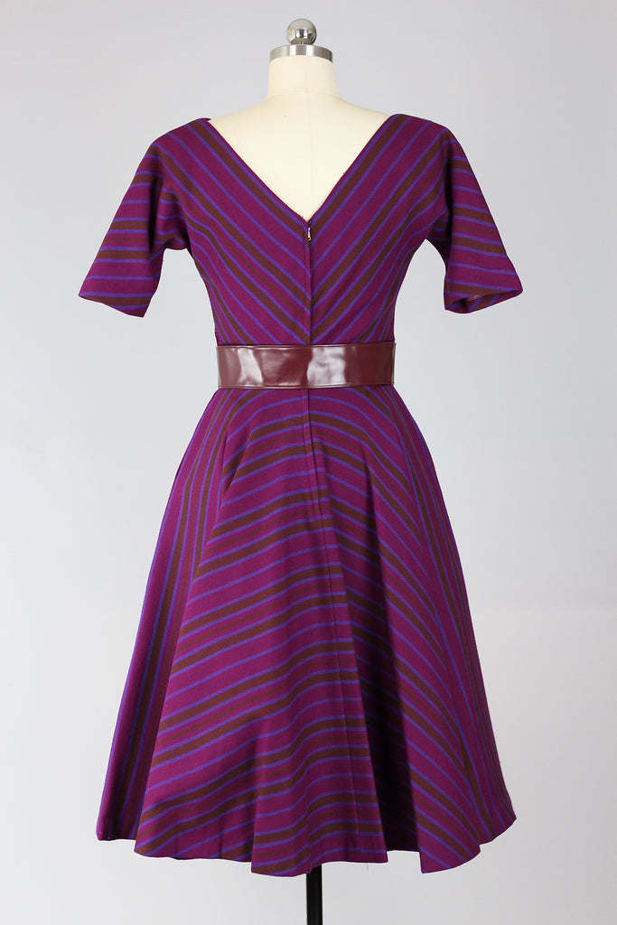 RARE! Incredible Mr. Mort 1950s New Look Plum Wool Stripe Dress