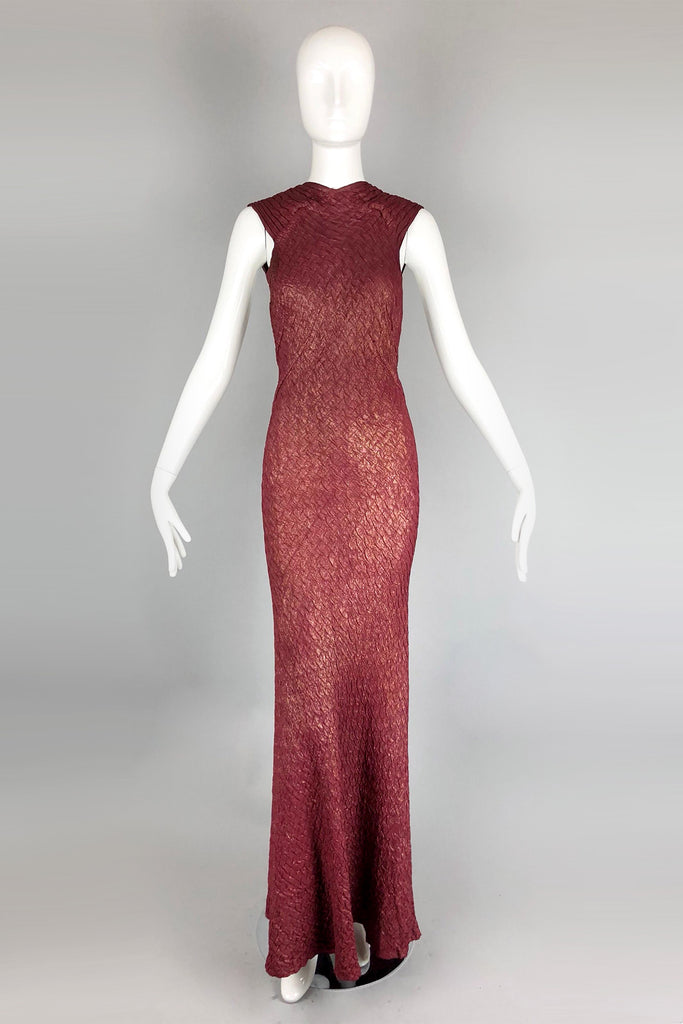 Rare! 1930s Bias Cut Plum and Gold Lamé Old Hollywood Gown with Low Back and Buttons