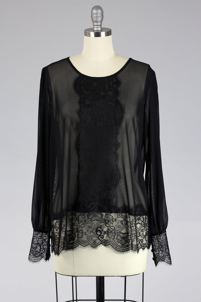 Hand Drawn Chantilly Lace Blouse