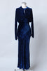 1930s Old Hollywood Blue STRIAE Italian Silk Velvet Gown