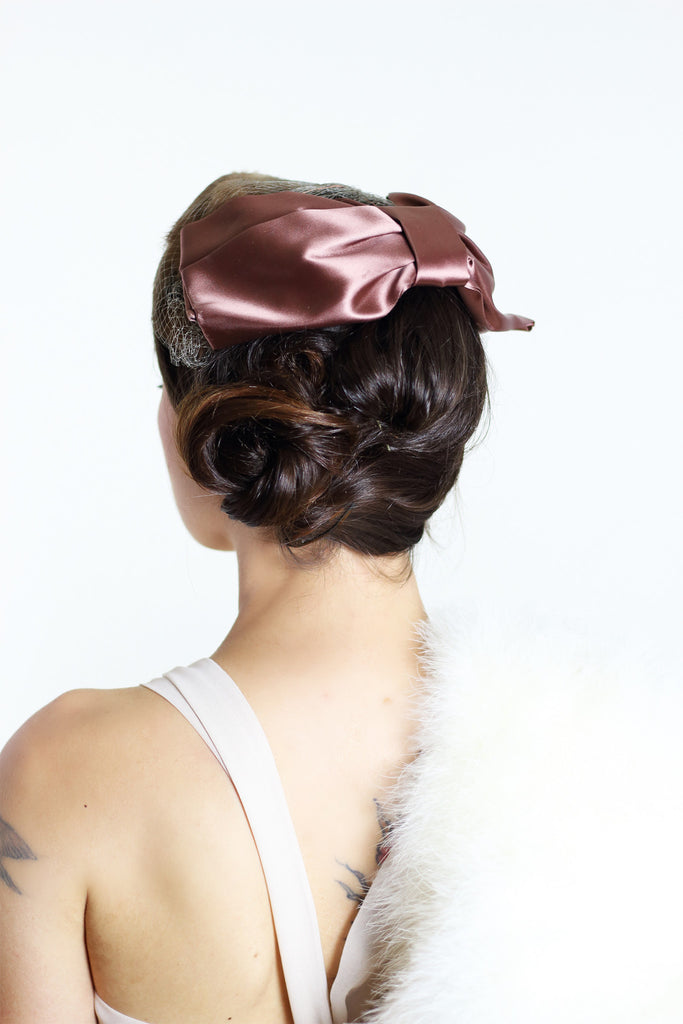 1940s Fur & Bow Hat