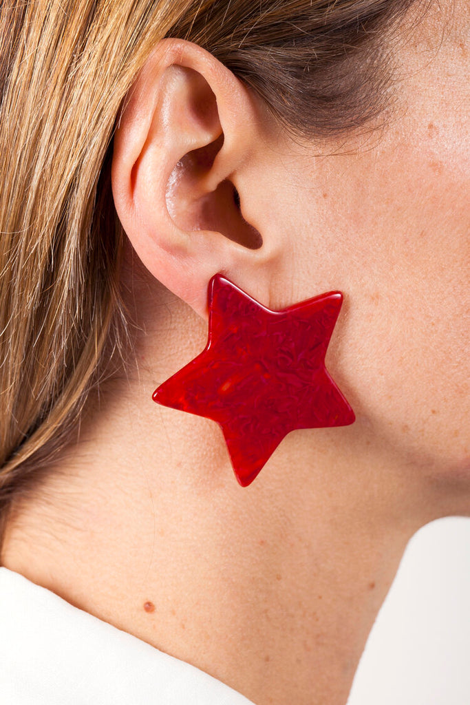 Star Earrings - White