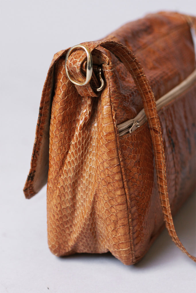 1970s Cobra Skin Shoulder Bag