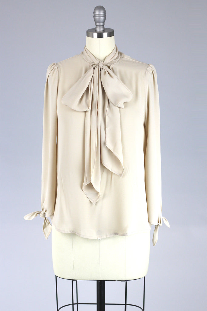 Soft Almond Tie Front Blouse