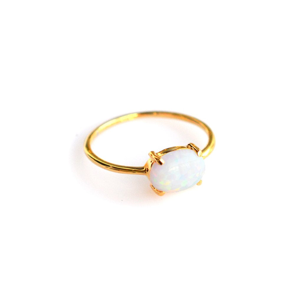 LA Kaiser Genuine Opal Solo Claw Ring