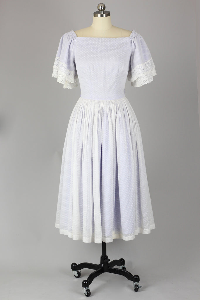 1950s Mr.Mort Lavender & Swiss Dot Lace Dress
