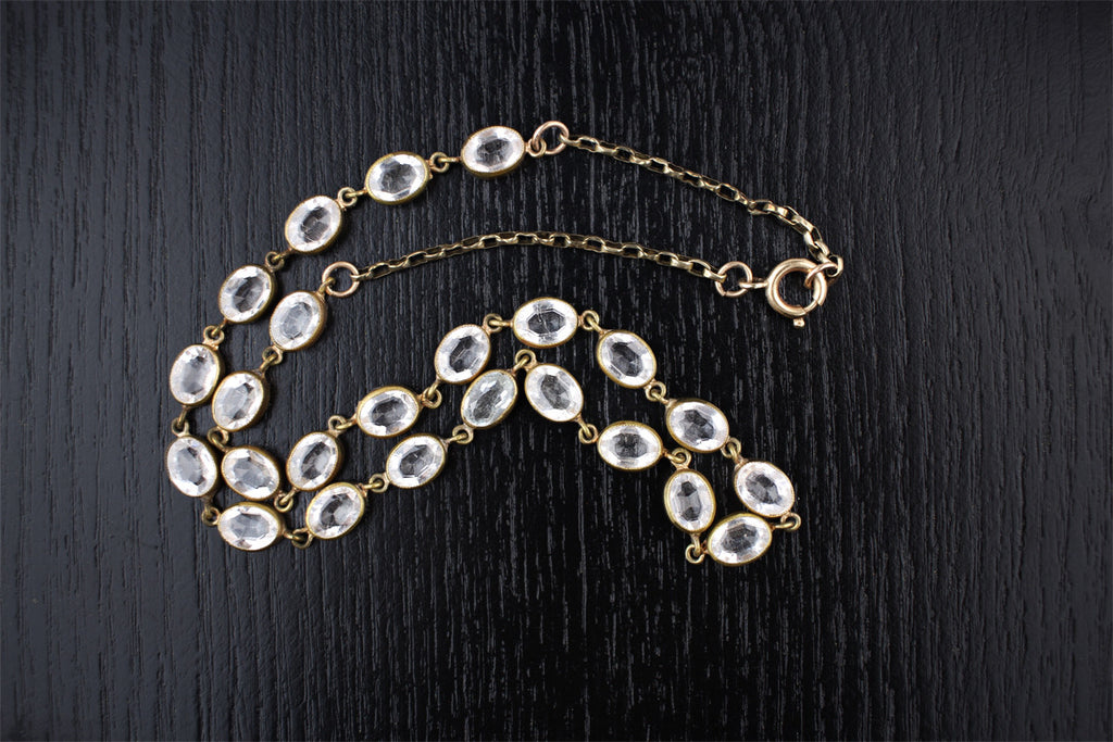 Antique Edwardian Old Cut Crystal French Paste Collar Necklace c. 1910
