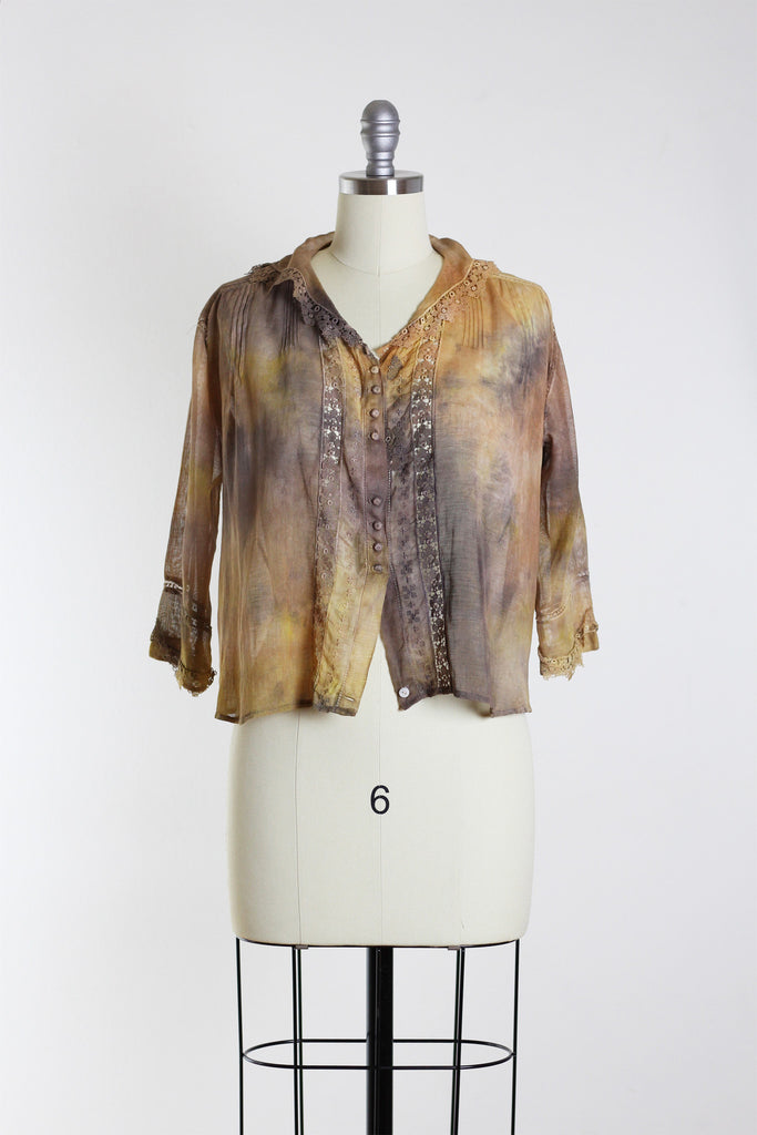 Tie-Dyed Edwardian Linen & Lace Top in Yellow & Grey