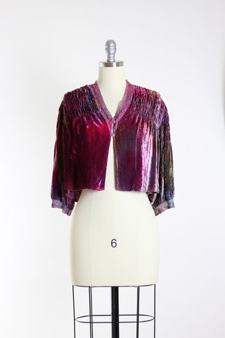 Edwardian Silk Velvet Overdye Cropped Jacket Top