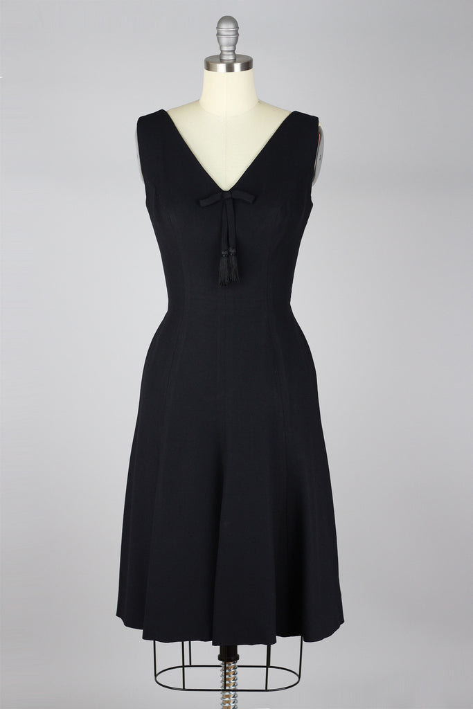 Elegant 1960s Black Crepe Cocktail Dress
