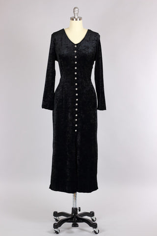 Black Velvet Long Dress with Antique Filigree Buttons
