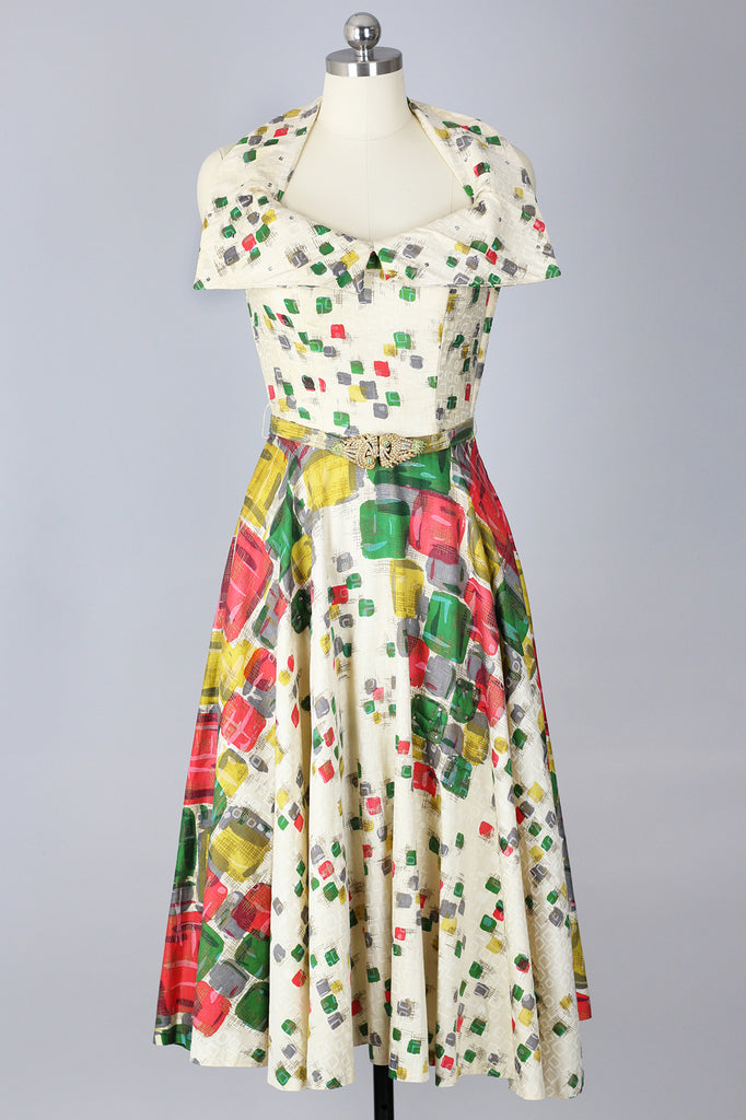 RARE! Incredible 1950s Halter Dress with Graphic Print & Rhinestones