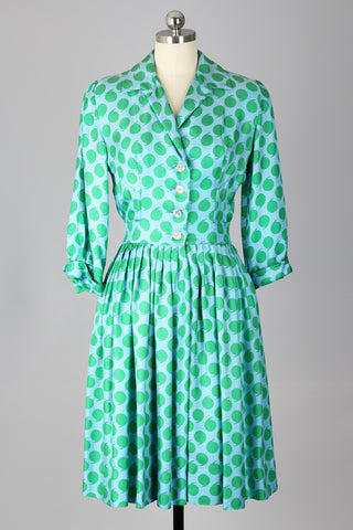 Always Punctual 1950s Green Silk Polka Dot Dress