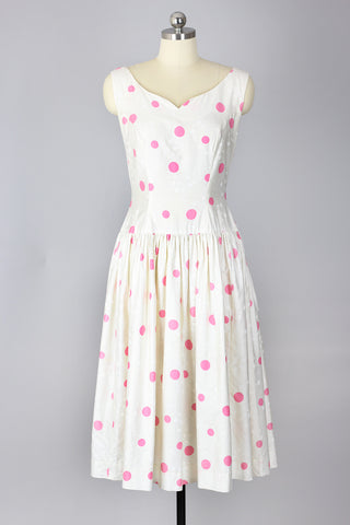Dippin' Dots Delight 1950s Pink Polka Dot Dress