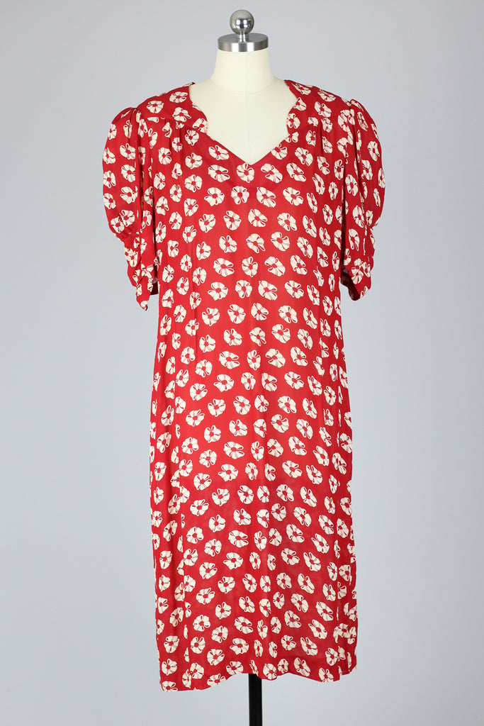 Vintage Inspired 1980s Red Floral Dress