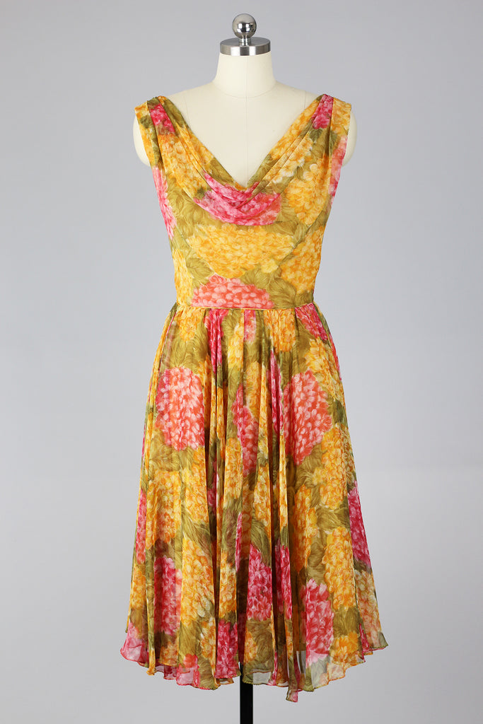 Marigold Majesty 1960s Chiffon Swing Dress