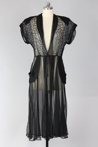 Rare 1940s Black Sheer Tulle Dress with Soutache Detail