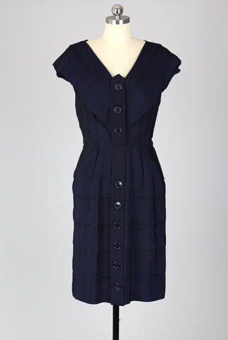 Perfect Fitted 1940s Silky Rayon Crepe Navy Day Dress