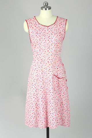 1940s Cherry Print Cotton Jumper Dress