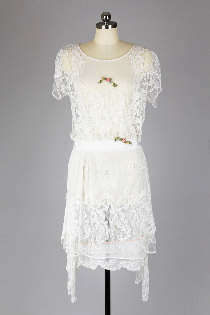 Stunning 1920s Asymmetrical Lace Tea Dress Gatsby Summer Afternoon