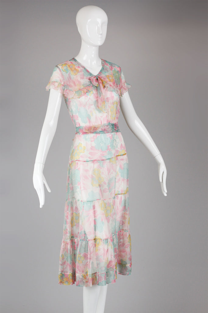 1930s Silk Organza Floral Print Lawn Dress