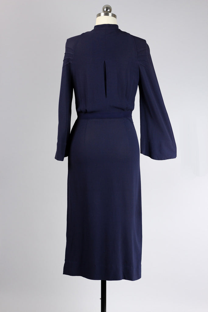Rare 1930s-40s Navy Crepe Dress with Yellow Bakelite Buttons