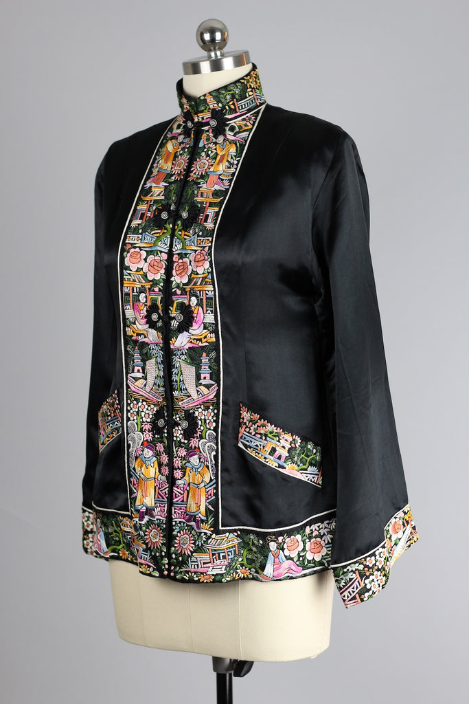 Rare 1940s Silk Hand Embroidered Peking Knot Chinese Jacket
