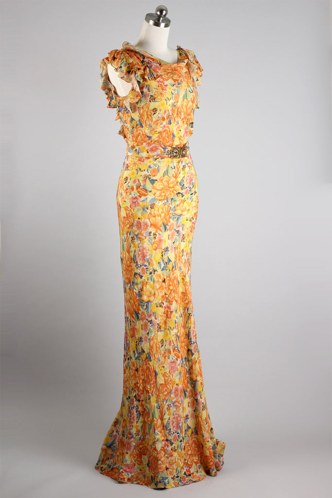 Stunning 1930s Rare Floral Silk Organza Gown with Fishtail Hem