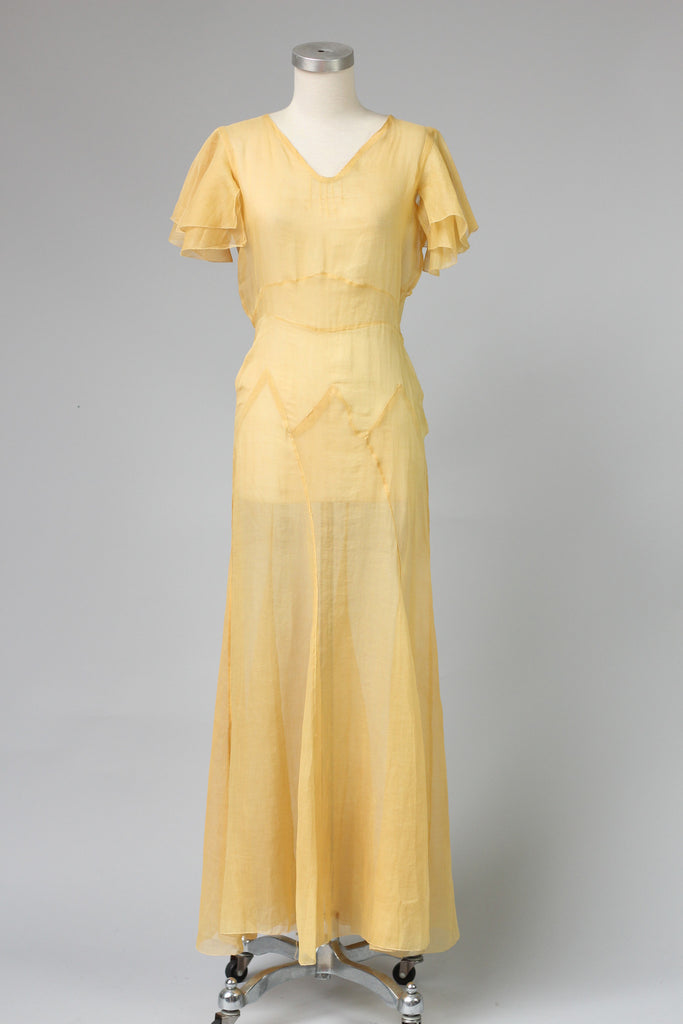 Stunning Art Deco 1930s Cotton Organza Lawn Party Dress in Yellow