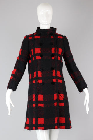 Rare Antonio Castillo (house of Lanvin) 1960s Red & Black Plaid Wool Coat