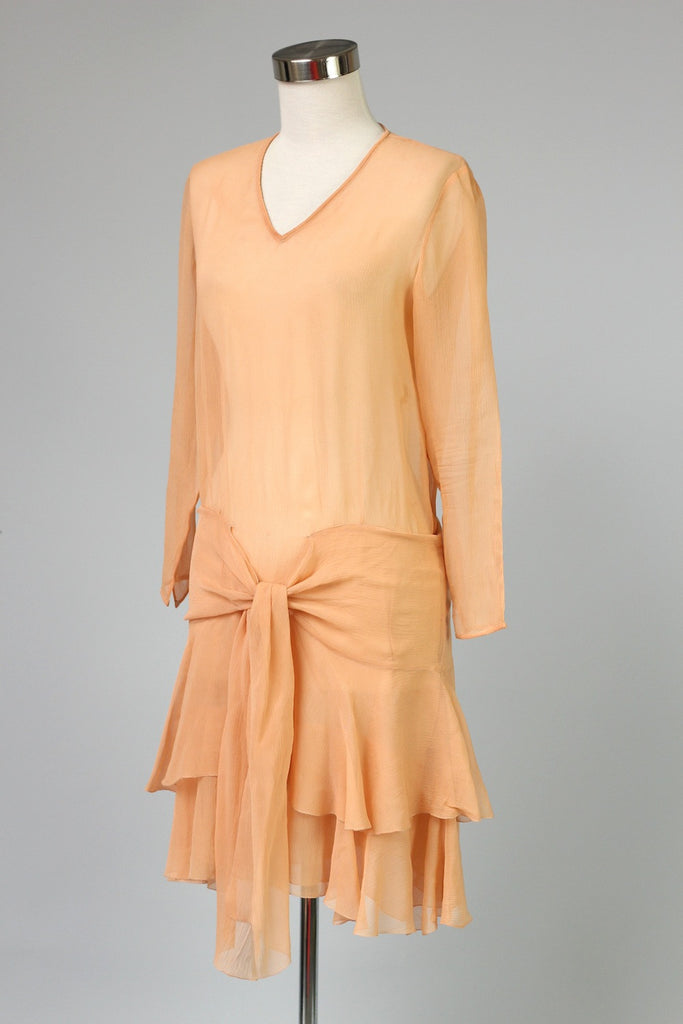 1920s Peach Silk Chiffon Lawn Party Day Dress As Is