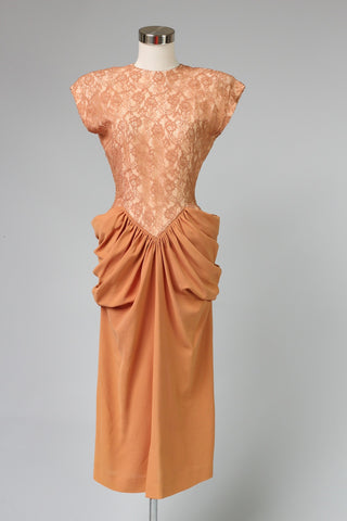 Amazing Rare 1940s Peach Crepe and Lace Cocktail Dress