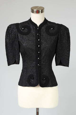 French Avant Garde 1940s Black Crushed Silk Top