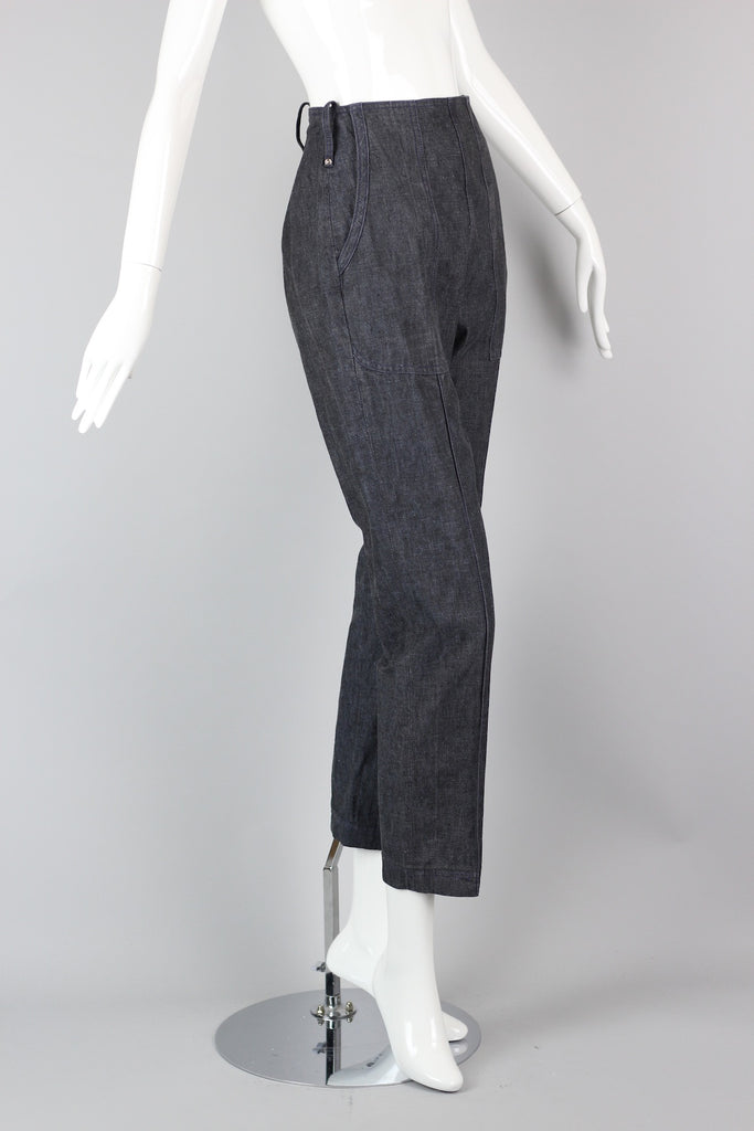Rare 1940s Women's Jeans - High Waisted, Side Zipper Phelps Original Raw Denim