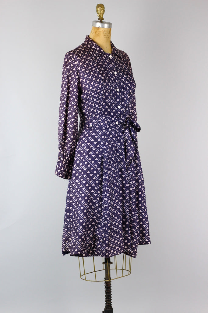 Vintage Purple Hearts Silk Dress 1950s-60s