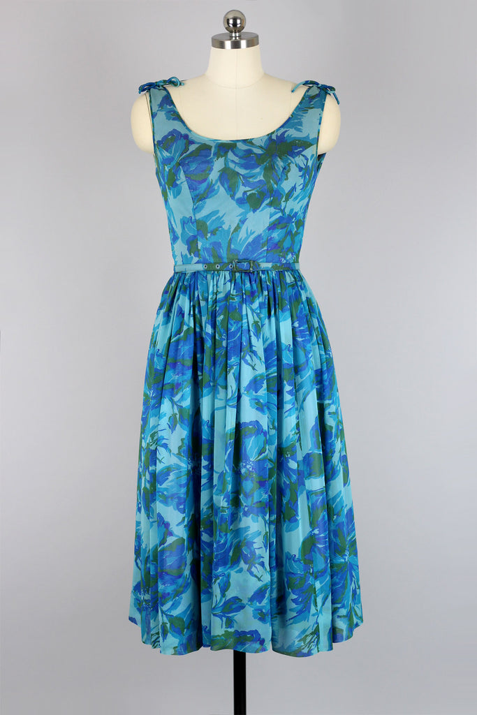 1950s Blue Floral Print Silk Organza Dress XS