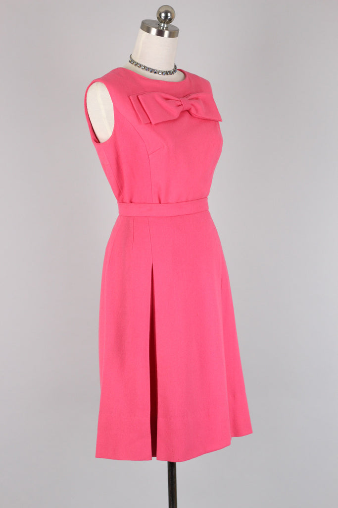 1960s Hot Pink Set / Bow Top & Skirt Suit Set