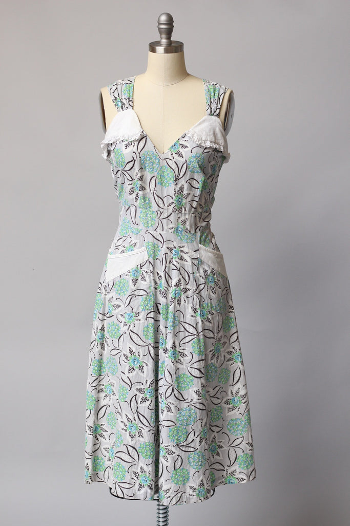 1940s Printed Cotton Summer Dress with Matching Bolero