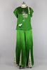 Rare 1920s Kelly Green Chinoiserie Beach Pajamas