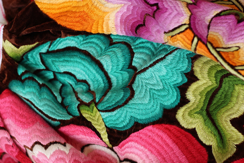 Very Rare Original 1940s-50s Tehuantepec Mexico Skirt with All-Over Embroidery