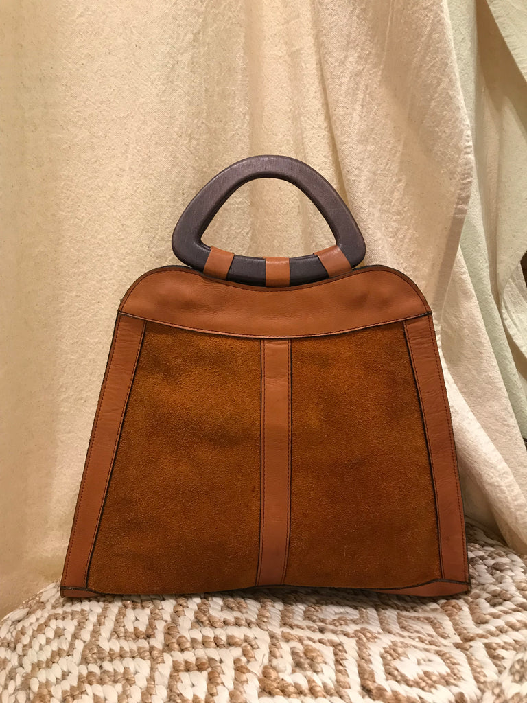 Vintage 70s Wooden Top Handle Suede Bag