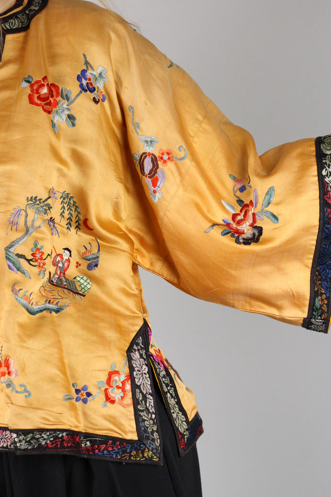 Rare Antique 1910s-20s Peach Salmon Embroidered Chinese Jacket