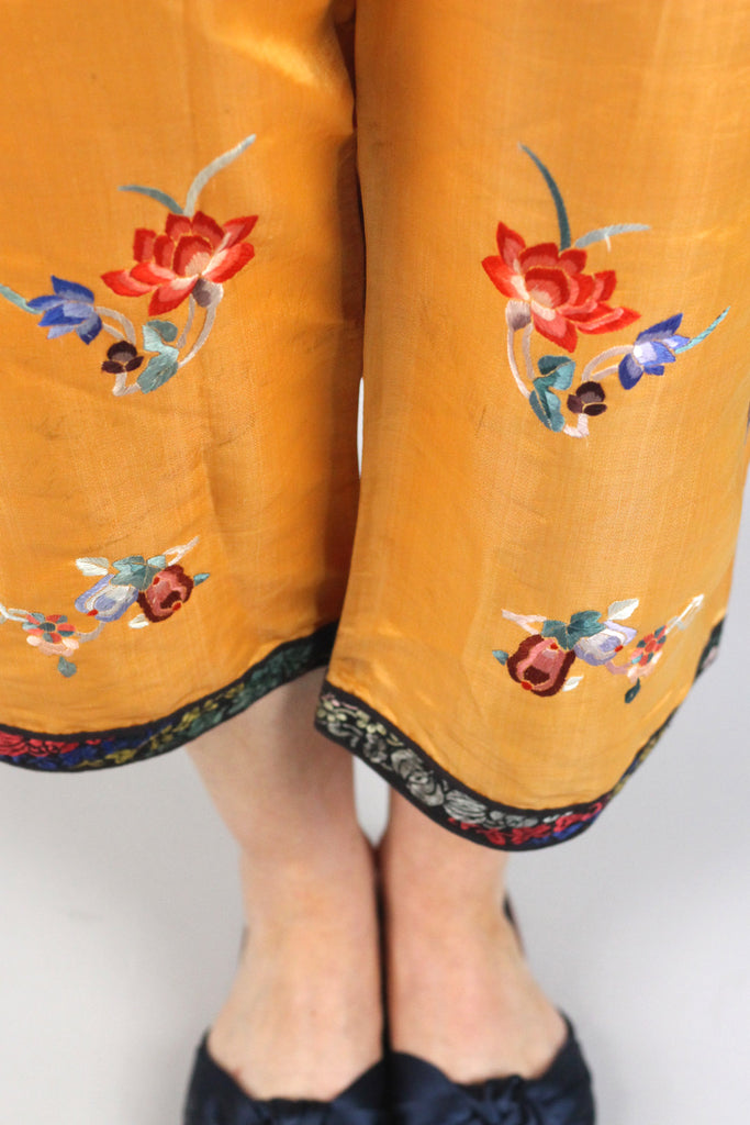 Rare Antique Peach Salmon Embroidered Chinese Pajama Pants