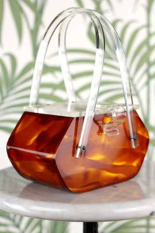 Stunning Rare Hand Carved Tortoise Shell and Clear Lucite 1950s Purse