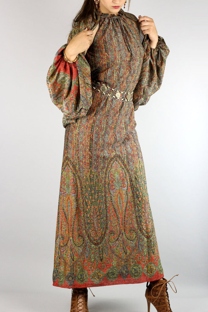 Rare 1970s Lurex Paisley Dress & Shawl by Helga for Gumps