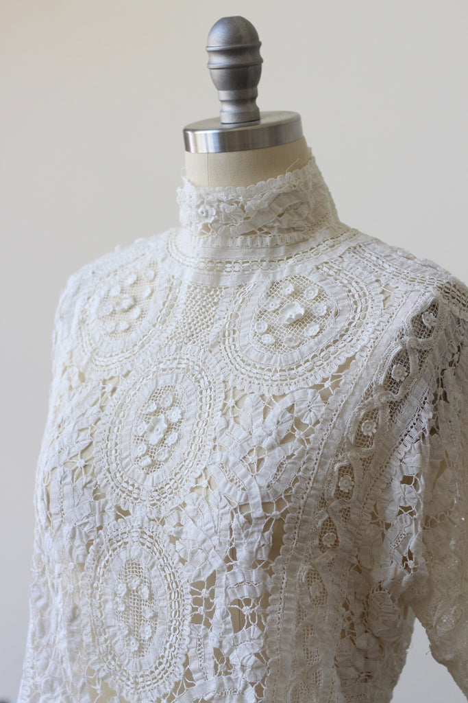 Antique White Irish Crochet Tape Lace Blouse c. 1900s-1910s
