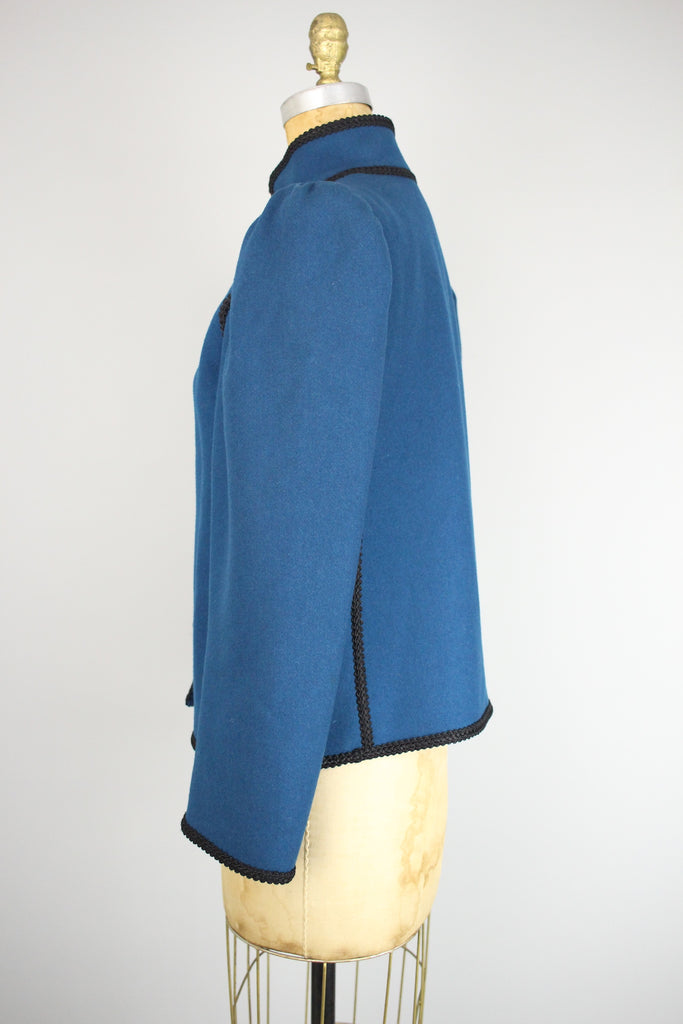 Vintage SAINT LAURENT Rive Gauche Teal Wool Coat with Toggle Clasp