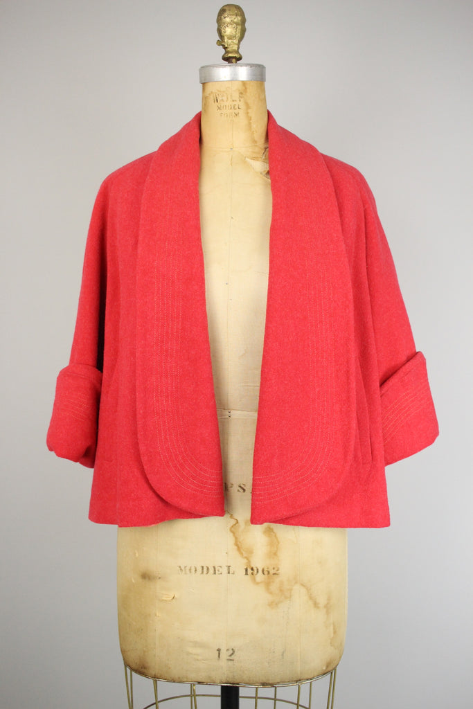 Rare 1950s Melon Red Swing Coat
