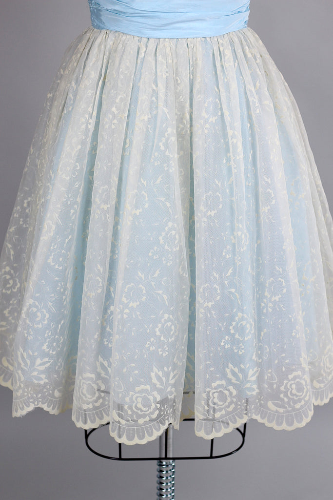 Late 1950s/ Early 1960s Pale Blue Party Hostess Dress